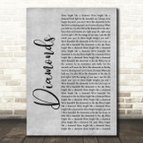 Rihanna Diamonds Grey Rustic Script Song Lyric Music Art Print
