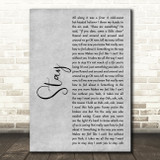 Rihanna Stay Grey Rustic Script Song Lyric Music Art Print