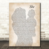 Charles Aznavour She Mother & Baby Song Lyric Music Art Print