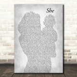 Charles Aznavour She Mother & Baby Grey Song Lyric Music Art Print