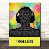 The Lightning Seeds Three Lions Multicolour Man Headphones Song Lyric Music Art Print