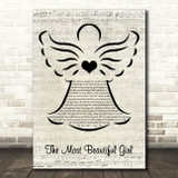 Charlie Rich The Most Beautiful Girl Music Script Angel Song Lyric Music Art Print