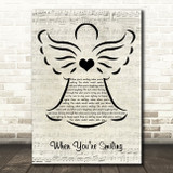 Frank Sinatra When You're Smiling Music Script Angel Song Lyric Music Art Print