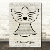 Christina Perri A Thousand Years Music Script Angel Song Lyric Music Art Print