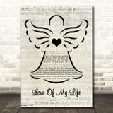 Queen Love Of My Life Music Script Angel Song Lyric Music Art Print