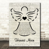 Neil Young Harvest Moon Music Script Angel Song Lyric Music Art Print