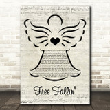 Tom Petty Free Fallin' Music Script Angel Song Lyric Music Art Print