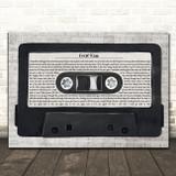 Kid Rock First Kiss Music Script Cassette Tape Song Lyric Music Art Print