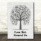 Shania Twain From This Moment On Music Script Tree Song Lyric Music Art Print