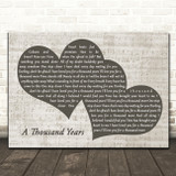 Christina Perri A Thousand Years Landscape Music Script Two Hearts Song Lyric Music Art Print
