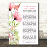 The Fureys I'll Take You Home Again Kathleen Floral Poppy Side Script Song Lyric Music Art Print