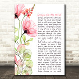 Ray Charles Georgia On My Mind Floral Poppy Side Script Song Lyric Music Art Print