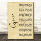 Jim McCann Grace Rustic Script Song Lyric Music Art Print