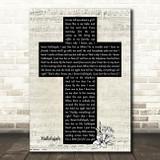 Ray Charles Hallelujah Music Script Christian Memorial Cross Song Lyric Music Art Print