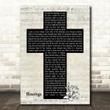 Laura Story Blessings Music Script Christian Memorial Cross Song Lyric Music Art Print