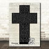 Chris Young Drowning Music Script Christian Memorial Cross Song Lyric Music Art Print