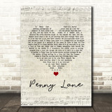 The Beatles Penny Lane Script Heart Song Lyric Music Art Print