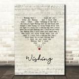 Buddy Holly Wishing Script Heart Song Lyric Music Art Print
