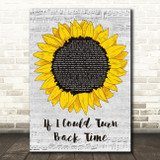 Cher If I Could Turn Back Time Grey Script Sunflower Song Lyric Music Art Print