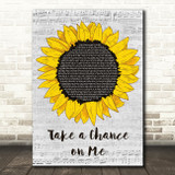 ABBA Take a Chance on Me Grey Script Sunflower Song Lyric Music Art Print