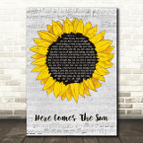 The Beatles Here Comes The Sun Grey Script Sunflower Song Lyric Music Art Print