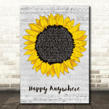 Blake Shelton Happy Anywhere Grey Script Sunflower Song Lyric Music Art Print