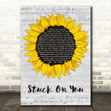 Lionel Richie Stuck On You Grey Script Sunflower Song Lyric Music Art Print