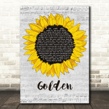 Harry Styles Golden Grey Script Sunflower Song Lyric Music Art Print