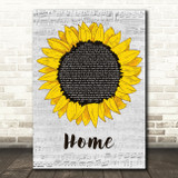 Edward Sharpe & The Magnetic Zeros Home Grey Script Sunflower Song Lyric Music Art Print