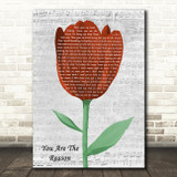 Callum Scott & Leona Lewis You Are The Reason Grey Script Watercolour Tulip Song Lyric Music Art Print