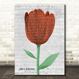 Oasis She's Electric Grey Script Watercolour Tulip Song Lyric Music Art Print
