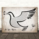 Wiz Khalifa See You Again Vintage Dove Bird Song Lyric Music Art Print