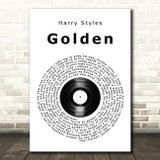Harry Styles Golden Vinyl Record Song Lyric Music Art Print