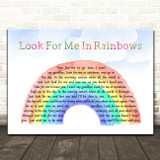 Vicki Brown Look For Me In Rainbows Watercolour Rainbow & Clouds Song Lyric Music Art Print
