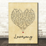 The Cure Lovesong Vintage Heart Song Lyric Quote Print