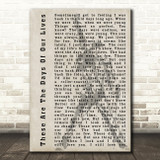 Queen These Are The Days Of Our Lives Freddie Mercury Silhouette Song Print