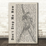 Queen Don't Stop Me Now Freddie Mercury Silhouette Song Lyric Quote Print
