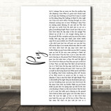 Dave Matthews Band Pig White Script Song Lyric Music Art Print