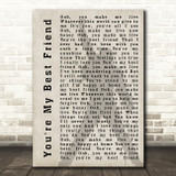 Queen You're My Best Friend Freddie Mercury Shadow Song Lyric Quote Print
