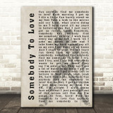 Queen Somebody To Love Freddie Mercury Silhouette Song Lyric Quote Print