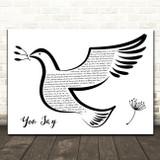 Lauren Daigle You Say Black & White Dove Bird Song Lyric Art Print