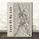 Queen Love Of My Life Freddie Mercury Silhouette Song Lyric Quote Print