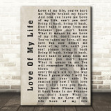 Queen Love Of My Life Freddie Mercury Shadow Song Lyric Quote Print