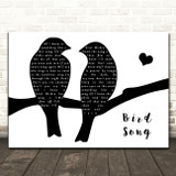 Grateful Dead Bird Song Lovebirds Black & White Song Lyric Art Print