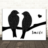 Sixx A.M. Smile Lovebirds Black & White Song Lyric Art Print
