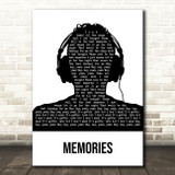 David Guetta Memories Black & White Man Headphones Song Lyric Art Print