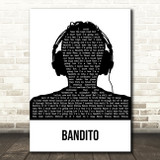Twenty One Pilots Bandito Black & White Man Headphones Song Lyric Art Print
