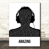 George Michael Amazing Black & White Man Headphones Song Lyric Art Print