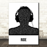 Twenty One Pilots Ride Black & White Man Headphones Song Lyric Art Print