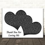 Bon Jovi Thank You For Loving Me Landscape Black & White Two Hearts Song Lyric Art Print